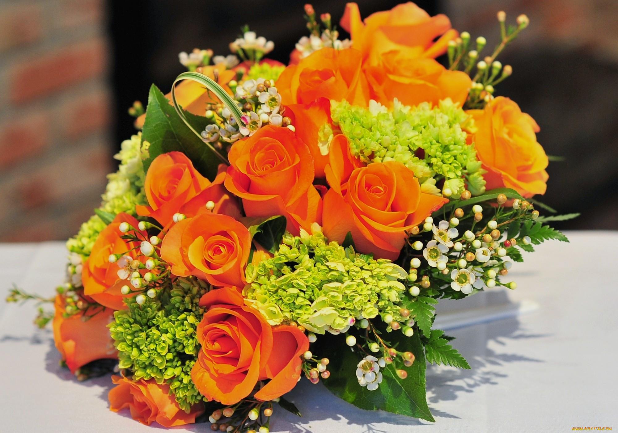 букеты оранжевых цветов полосы или